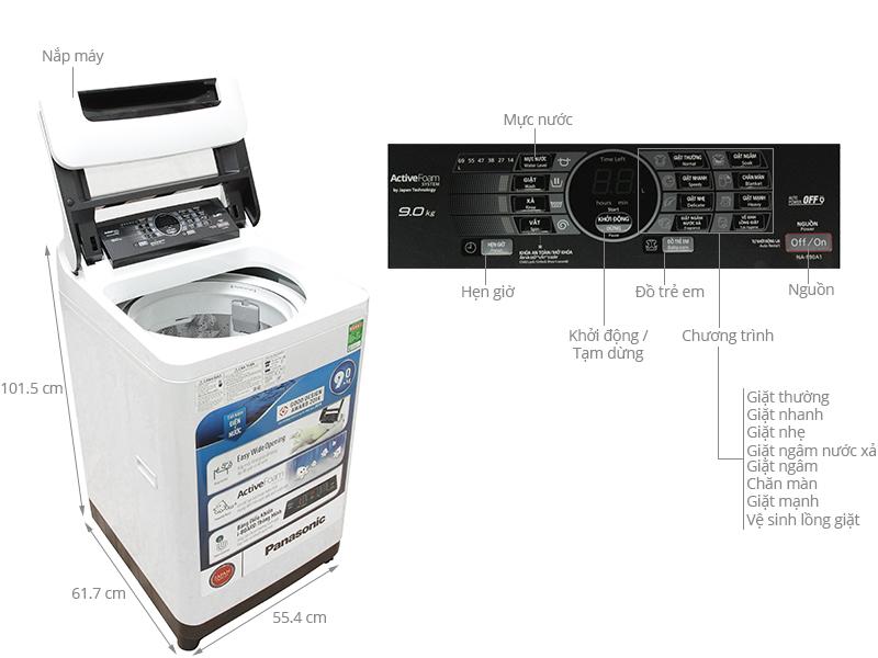 Thông số kỹ thuật Máy giặt Panasonic 9 kg NA-F90A1WRV