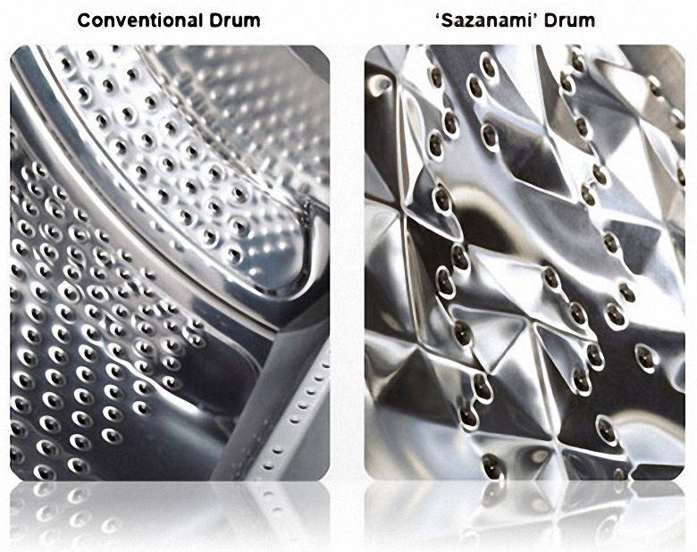 Lồng giặt Sazanami giúp giảm thiểu hư hại quần áo