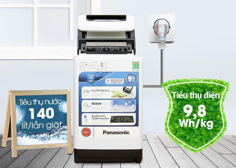 Máy giặt Panasonic NA-F90A1WRV có khả năng tiết kiệm điện cao