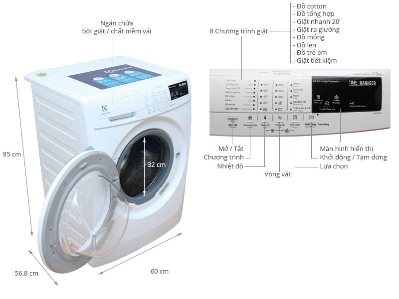 Thông số kỹ thuật Máy giặt Electrolux 7.5 kg EWF85743
