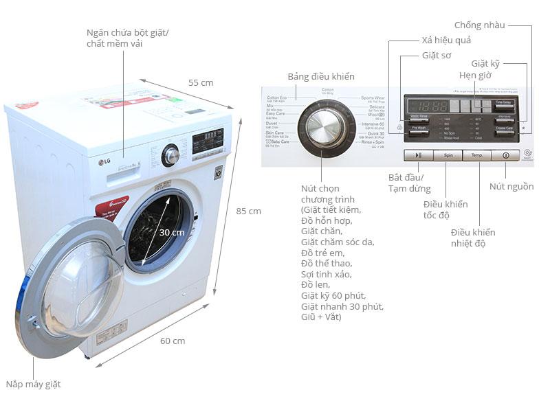 Thông số kỹ thuật Máy giặt LG 8 kg WD-12600