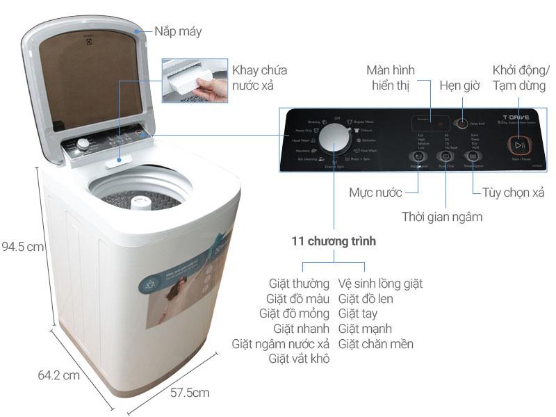 Thông số kỹ thuật Máy giặt Electrolux 8.5 kg EWT8541