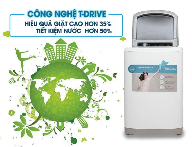 Với công nghệ T- drive độc đáo, máy giặt Electrolux EWT8541 sẽ giặt sạch quần áo mà không để lại vết xà phòng