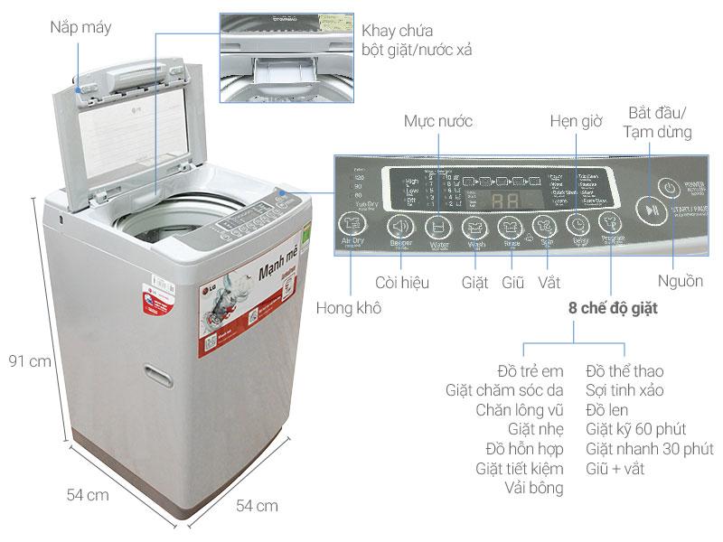 Thông số kỹ thuật Máy giặt LG 8 kg WF-S8019DB