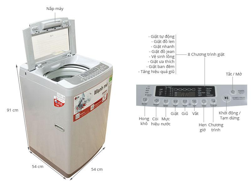 Thông số kỹ thuật Máy giặt LG WF-S8019DB 8.0 kg
