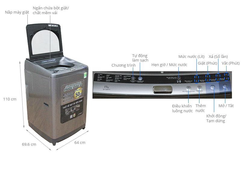 Thông số kỹ thuật Máy giặt Hitachi 13 kg SF-130XTV