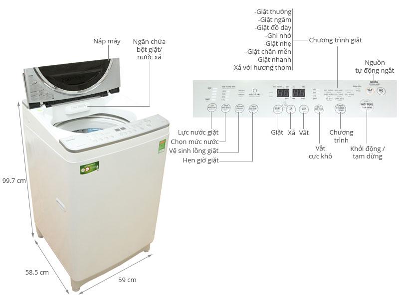 Thông số kỹ thuật Máy giặt Toshiba 10 kg AW-DE1100GV(WS)