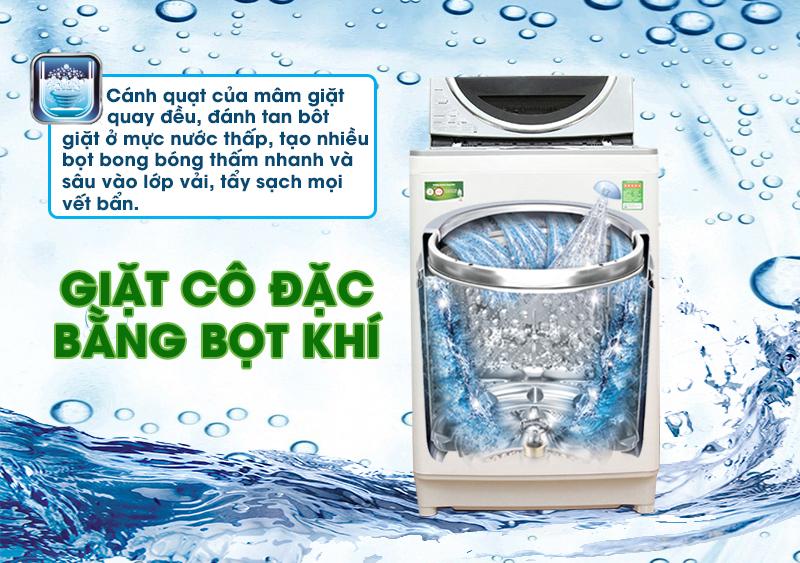 Công nghệ giặt cô đặc bằng bọt khí tiên tiến giúp cho máy giặt Toshiba AW-DE1100GV(WS) đánh tan bột giặt