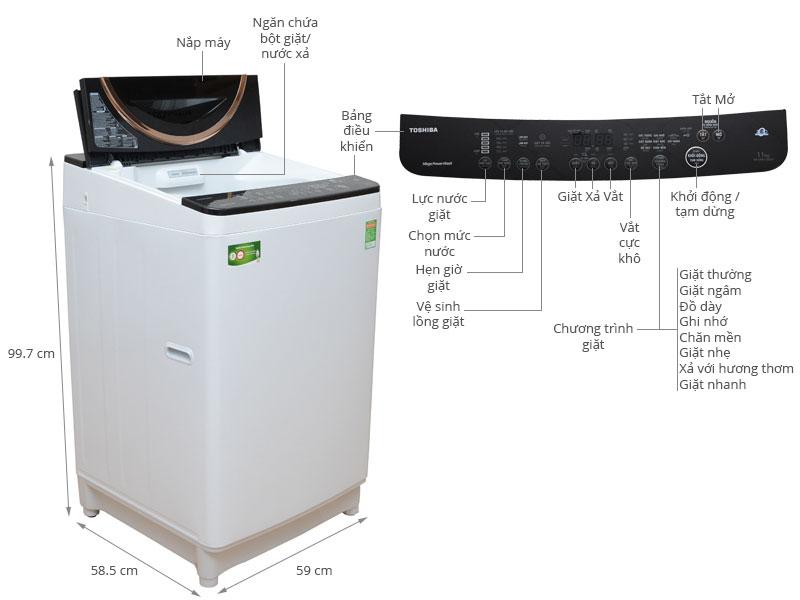 Thông số kỹ thuật Máy giặt Toshiba 11 kg AW-DME1200GV(WK)