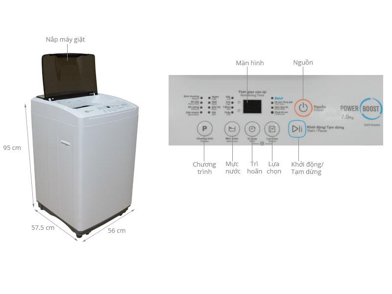 Thông số kỹ thuật Máy giặt Electrolux 7.5 kg EWT754XW