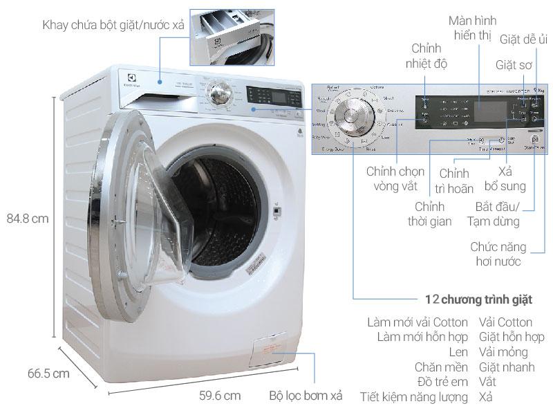 Thông số kỹ thuật Máy giặt Electrolux 9 kg EWF12932