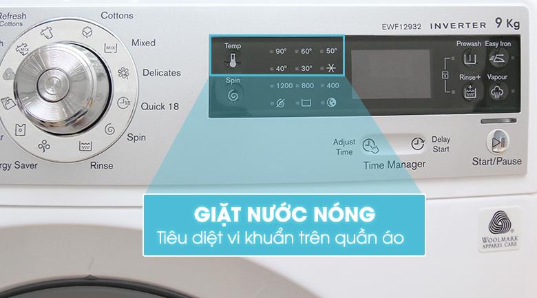 Tiện ích giặt nước nóng trên máy giặt Electrolux EWF12932