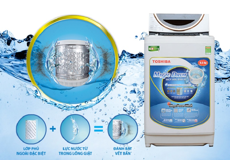 Công nghệ lồng giặt Magic Drum độc đáo, với lớp phủ ngoài hiệu quả cao, đem lại khả năng giữ sạch lồng giặt