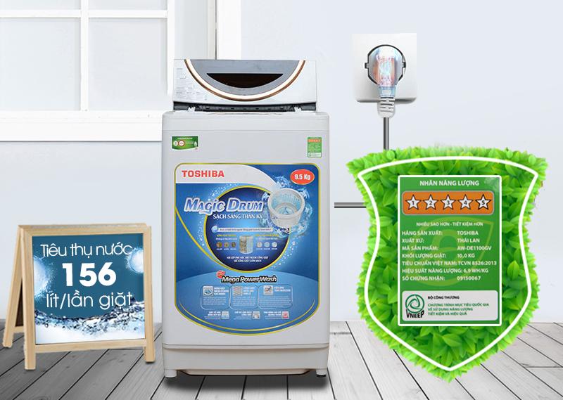 Máy giặt Toshiba ME1050GV(WD) có khả năng tiết kiệm điện và nước cao
