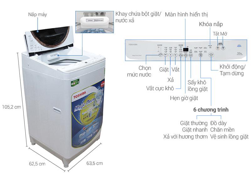 Thông số kỹ thuật Máy giặt Toshiba 10.5 kg ME1150GV(WK)