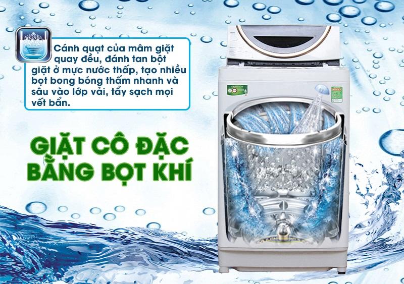 Khả năng giặt cô đặc bằng bọt khí là một tính năng quan trọng, giữ cho máy giặt Toshiba ME1150GV(WK) có khả năng giặt sạch sâu đến tận bên trong từng sợi vải