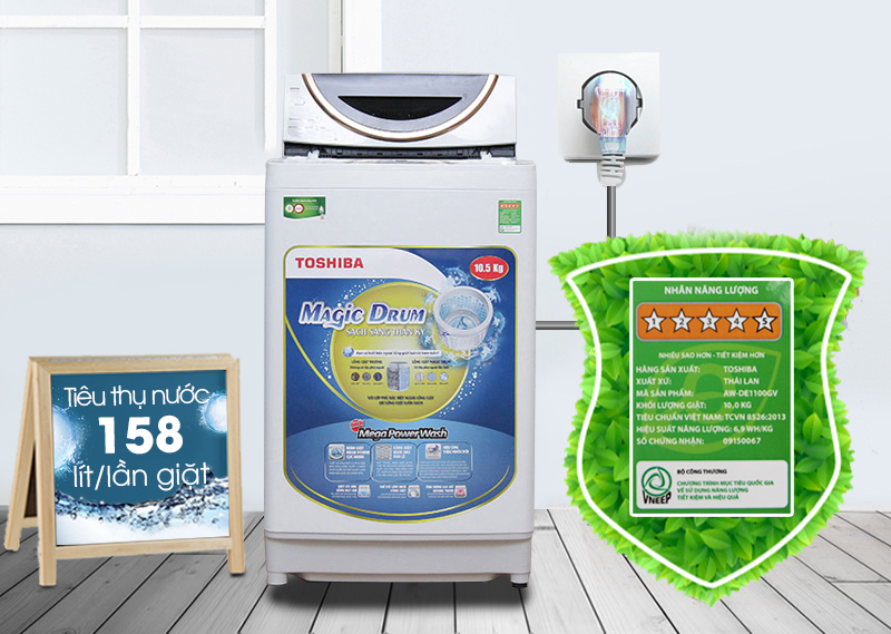 Máy giặt Toshiba ME1150GV(WK) có khả năng tiết kiệm điện và nước cao