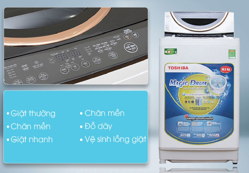 Số lượng lớn những chương trình giặt là một tiện ích không hề nhỏ của máy giặt Toshiba ME1150GV(WK)