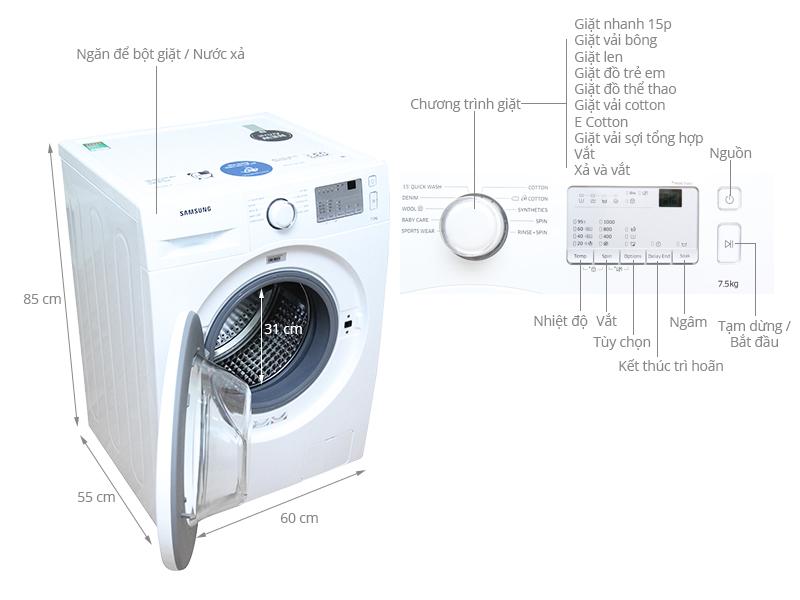 Thông số kỹ thuật Máy giặt Samsung 7.5 kg WW75J3083KW/SV