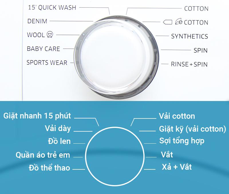 10 chương trình giặt đa dạng