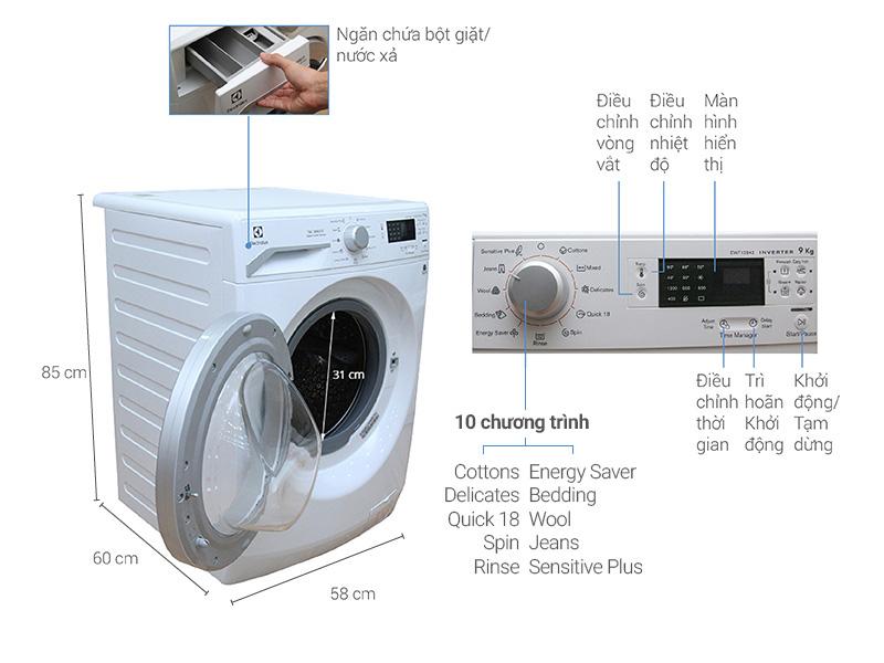 Thông số kỹ thuật Máy giặt Electrolux 9 kg EWF12942