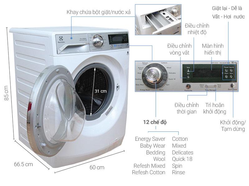 Thông số kỹ thuật Máy giặt Electrolux 10 kg EWF12022