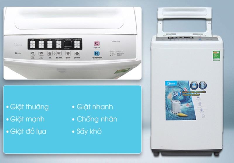 Nhiều chương trình giặt khác nhau của máy giặt Midea MAM-7502 sẽ giúp người dùng nhanh chóng chọn được chế độ giặt phù hợp