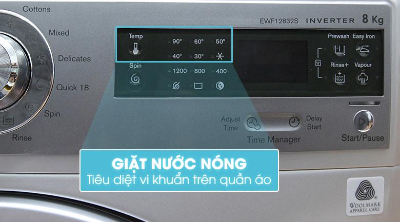 Máy giặt Electrolux EWF12832S với chức năng giặt nước nóng