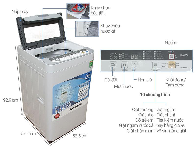 Thông số kỹ thuật Máy giặt Panasonic 7 kg NA-F70VS7HRV