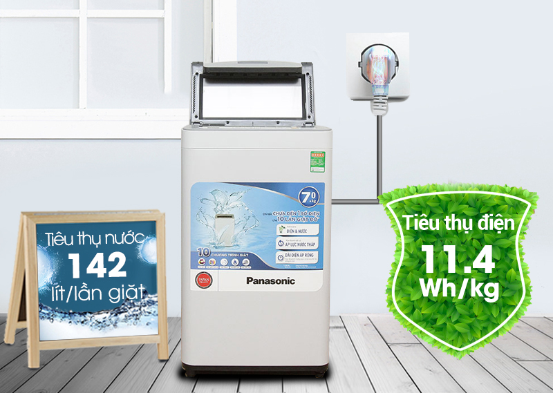 Máy giặt Panasonic NA-F70VS7HRV có khả năng tiêu thụ điện và nước tối ưu, tránh những hao phí điện năng không cần thiết