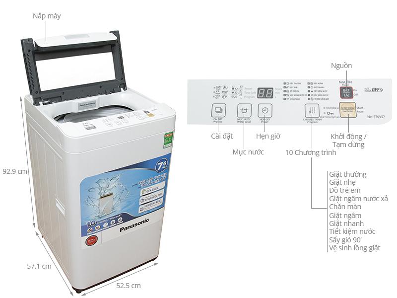 Thông số kỹ thuật Máy giặt Panasonic 7.6 kg NA-F76VS7WRV