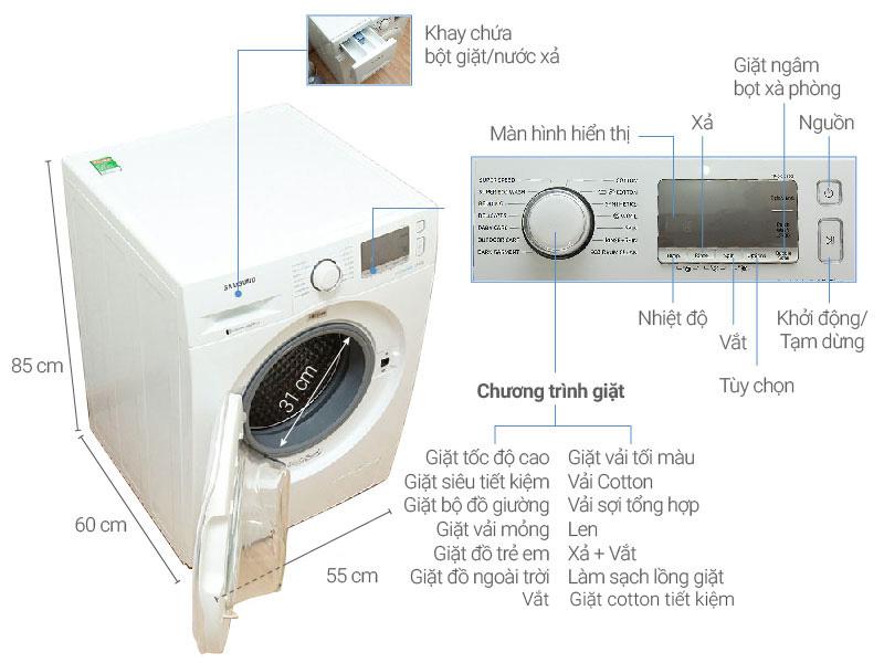 Thông số kỹ thuật Máy giặt Samsung Inverter 10.5 kg WW10J6413EW/SV