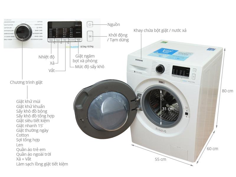 Thông số kỹ thuật Máy giặt sấy Samsung 8.5 kg WD85J5410AW/SV
