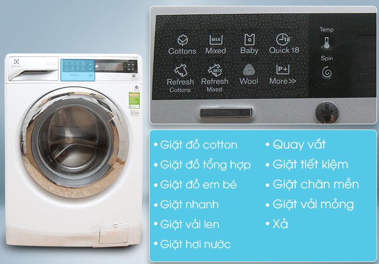 Chương trình giặt phong phú, đa dạng