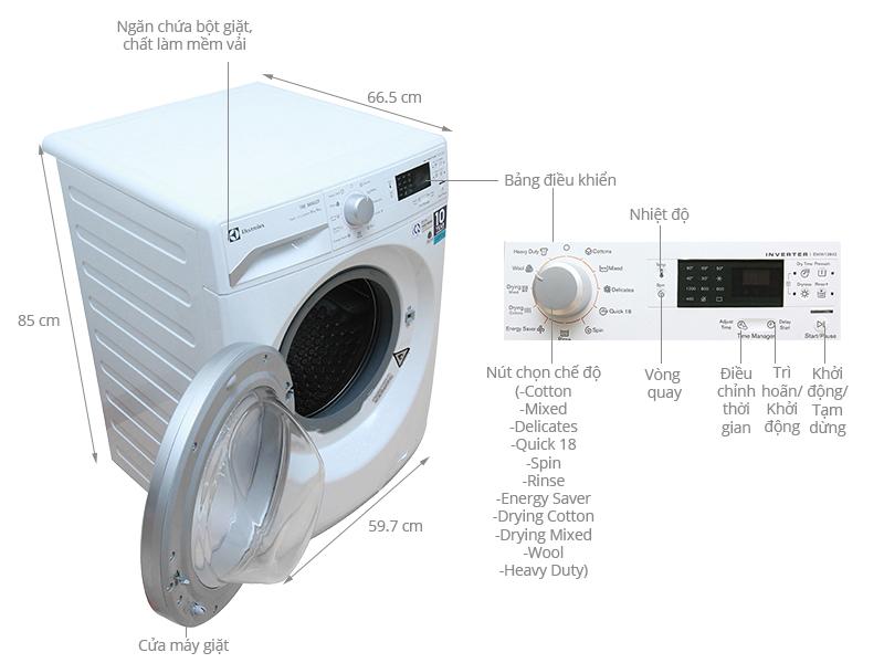 Thông số kỹ thuật Máy giặt sấy Electrolux 8 kg EWW12842