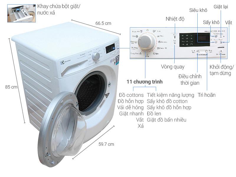 Thông số kỹ thuật Máy giặt sấy Electrolux Inverter 8 kg EWW12842