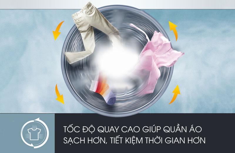 Tốc độ quay vắt cao của máy giặt sấy Electrolux EWW12842 đem lại cho nó khả năng vắt khô quần áo triệt để trong thời gian ngắn