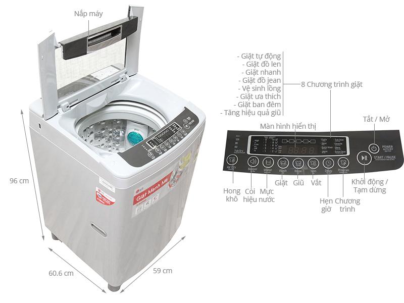 Thông số kỹ thuật Máy giặt LG 10 kg WF-S1015DB
