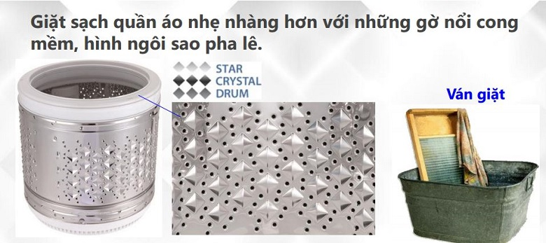 Lồng giặt ngôi sao pha lê giúp giặt sạch hiệu quả