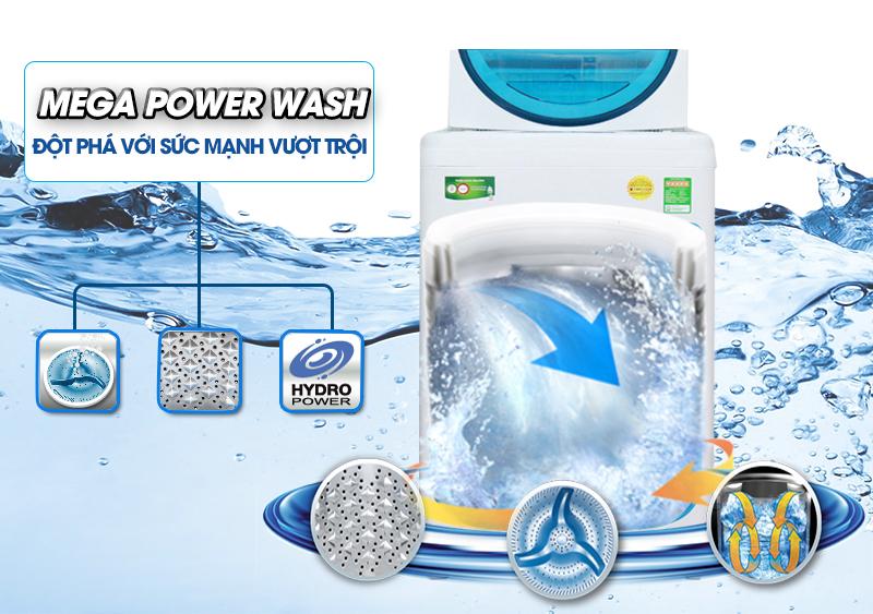 Sở hữu công nghệ Mega Power, máy giặt Toshiba AW-F920LV WB với mâm giặt 3 cánh tạo nên dòng nước ba chiều mạnh mẽ