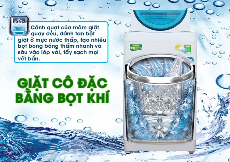 Nhờ tính năng giặt cô đặc bằng bọt khí, máy giặt Toshiba AW-F920LV WB sẽ đánh tan các bột giặt