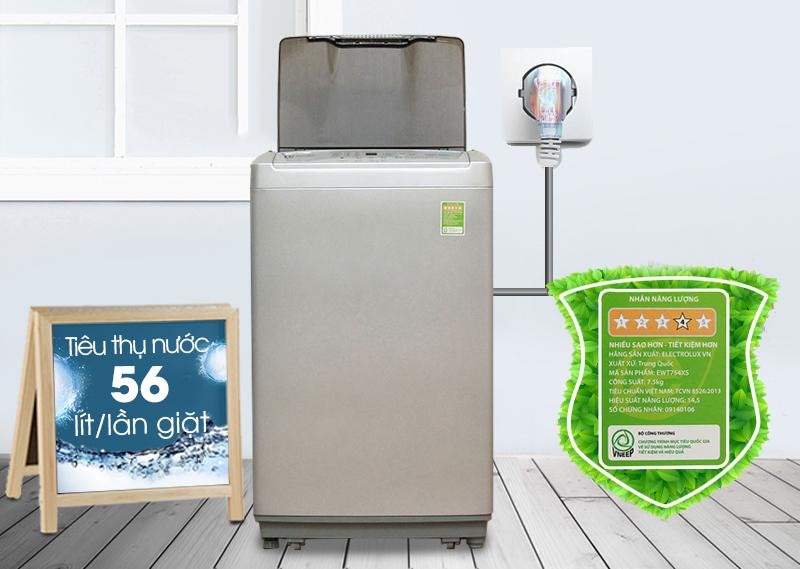 Máy giặt Electrolux EWT754XS có khả năng tiết kiệm điện và nước cao