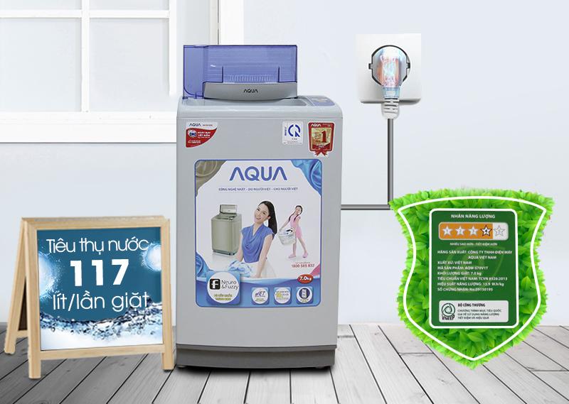 Máy giặt Aqua AQW-S70V1T H có khả năng tiết kiệm điện năng và nước cao