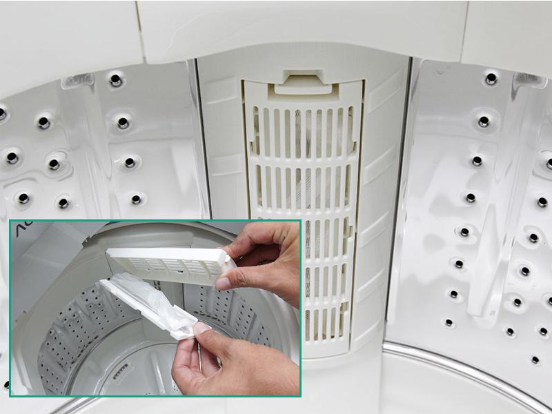 Máy giặt Aqua AQW-S70V1T H có cải tiến mới ở bộ lọc xơ vải
