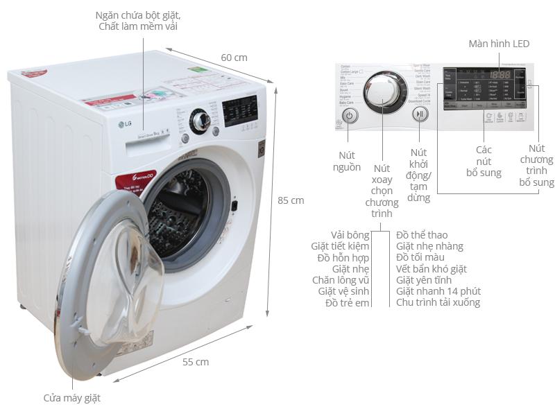 Thông số kỹ thuật Máy giặt LG 9 kg F1409NPRW
