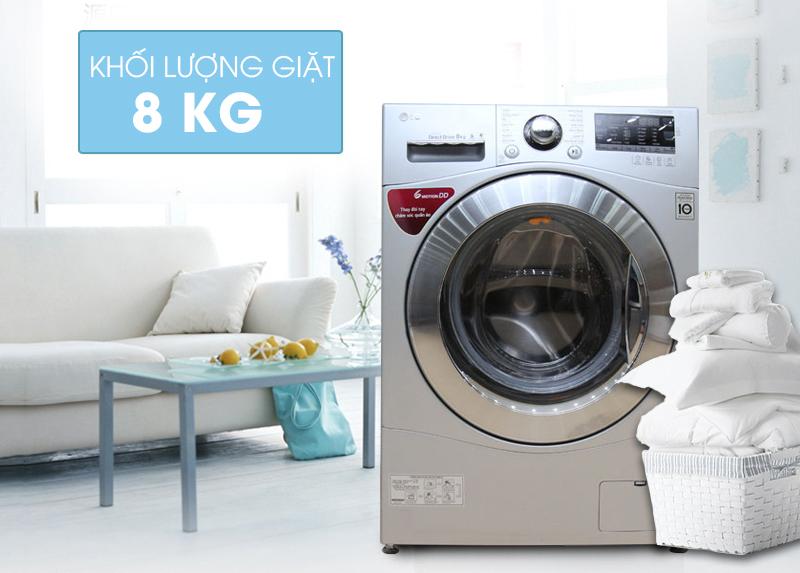 Máy giặt LG F1408NPRL có thiết kế sành điệu cùng gam màu xám bạc nổi bật