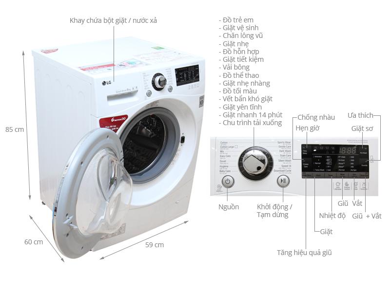 Thông số kỹ thuật Máy giặt LG 8 kg F1208NPRW