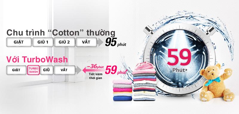Với máy giặt LG F1208NPRW, chế độ giặt Turbowash là chế độ giặt hoàn toàn mới
