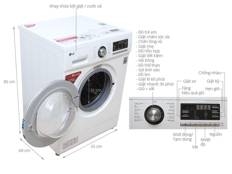 Thông số kỹ thuật Máy giặt LG 8 kg F1408NM2W