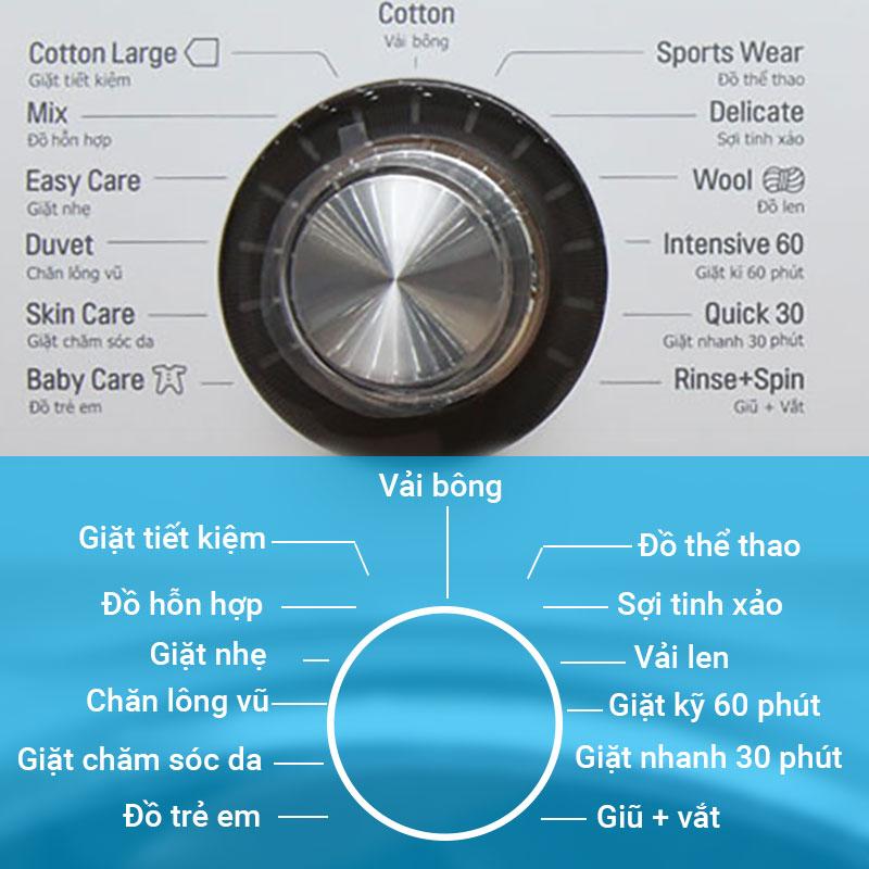 12 chương trình giặt khác nhau giúp người dùng dễ dàng tùy chỉnh